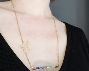 Star necklace, Rainbow necklace, gold, love necklace, blue, green, rose