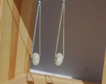 White Mother of Pearl Mosaic Earrings, Silver Chain, Post back