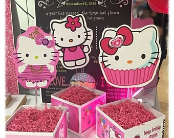 Hello Kitty Inspired Cube Centerpiece for Birthday Party!