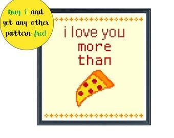 Funny cross stitch pattern - i love you more than pizza cross stitch pdf pattern instant download / funny valentine's cross stitch