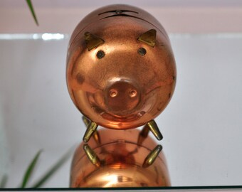 Copper piggy bank by Coppercraft Guild Taunton Mass.