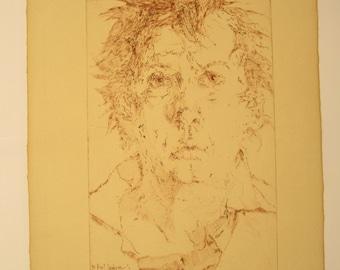 Horst Janssen, self portrait to Nocturno, 1976