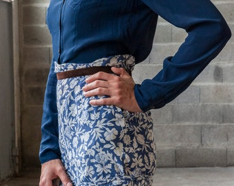 Blue and white floral short