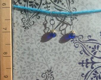Dainty Crystal Sapphire Earrings
