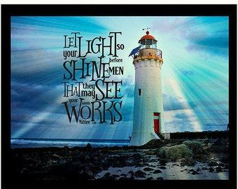 Matthew 5 v 16, Photographic Scripture Art, Printable Bible Verse, Let your Light so Shine, Instant Download, Scripture Quote Decor Print