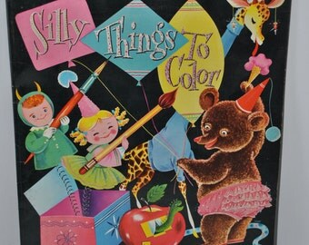 Extra Large Vintage Silly Things To Color Coloring Book - Unused dated 1955