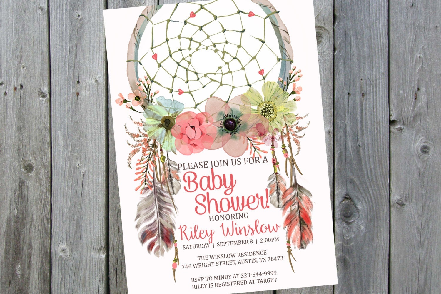 dreamcatcher baby shower invitation boho by perfectprintableco