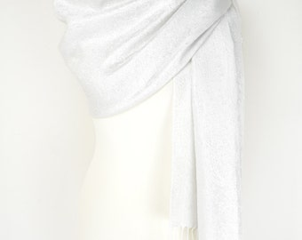White Sparkle Glitter Paisley Pashmina Shawl/Wrap/Scarf/CoverUp/Formal/Wedding/Gift/Party/Mother of the Bride/Bridesmaid/Gift for Her/Winter