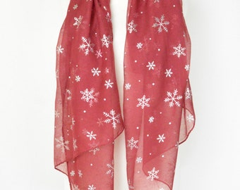 Red Snowflake Snowing Print Scarf, Wrap, Shawl, Cover Up, Scarves, Christmas Gift, Winter Scarf, Ladies Gift, Silver Foil, Oversize Scarf