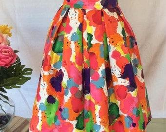 Tea length water color pleated skirt
