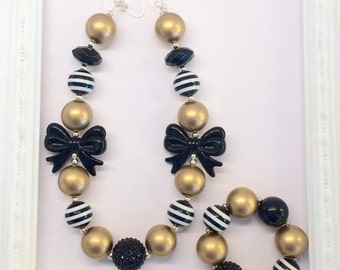 Black and Gold Fall Chunky Bubblegum Beaded Toddler Girls Necklace and Bracelet