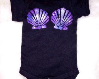 Baby Girl Mermaid Onesie Bodysuit Infant Onesie The Little Mermaid Top Girl's Mermaid Bodysuit