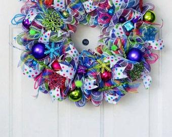 Neon Christmas Deco Mesh Wreath