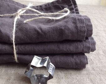 Linen Towels, Set of three Dark Grey Kitchen towels, dish towels, charcoal linen tea towels