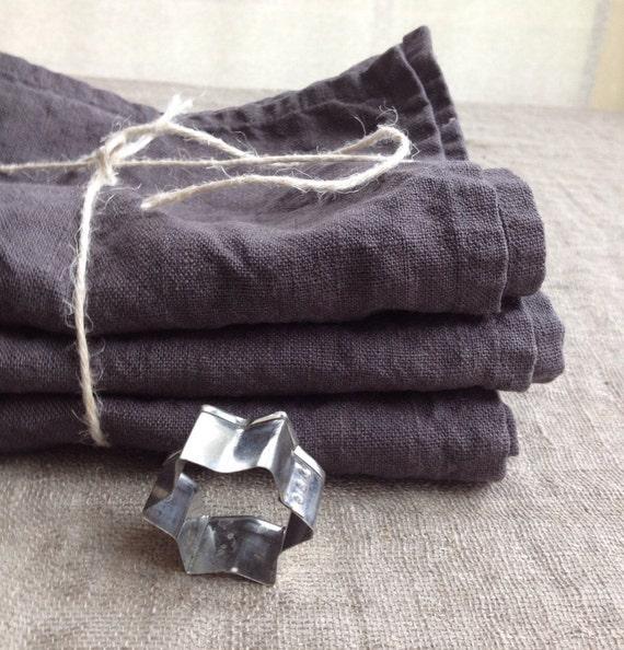 Grey Dish Rags: Linen Towels Set Of Three Dark Grey Kitchen Towels Dish