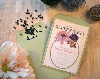Garden Party Bridal Shower Seed Packet Printable Custom Invite