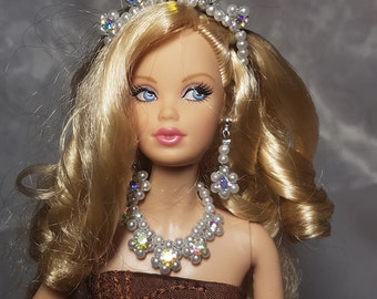 White with crystal jewelry for Barbie and other fashion dolls