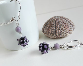 Purple sea urchin earrings handmade in Murano glass