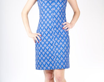 Blue Cotton 60s Inspired Dress Fitted Summer Dress