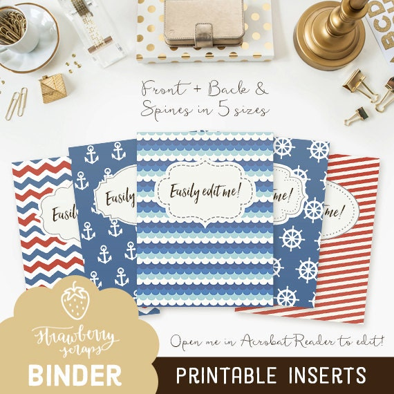 Printable Binder Inserts: NAUTICAL 5x Set Covers