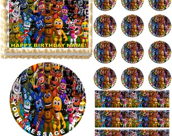 Five Nights At Freddy's Edible Cake Topper Image, Five Nights At Freddy's Cupcakes, Five Nights At Freddy's Party, Edible Photo, FNAF Cake