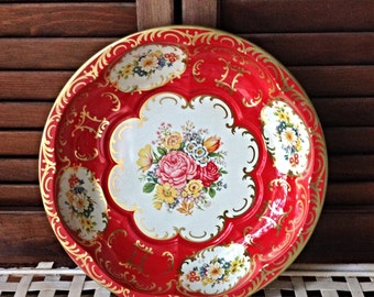 Gorgeous Red Floral Tin Bowl Daher Decorated Ware Shabby Cottage Chic Decor Decorative Accent