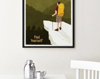 Appalachian Trail Poster, vintage style hiker poster