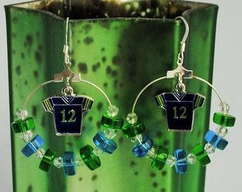 Seahawks Blue and Green Hoop Earrings