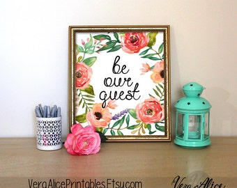 "PRINTABLE Art ""Be Our Guest"" Typography Art Print Welcome Art Print Coral Floral Art Print Welcome Wall Art Hello Neighbors Floral Wall Art"