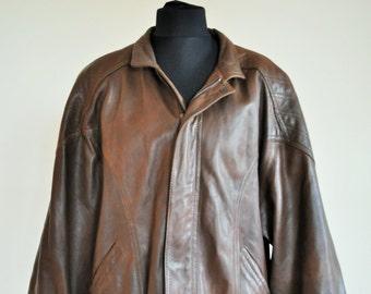 Vintage Mens Leather Jacket / Brown / 80's / Bomber Jacket / Soft Genuine Leather / Large / Made in Finland / Oversized / Oversize / Biker