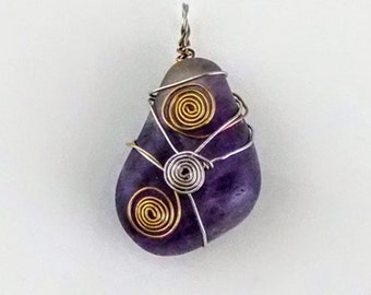 Wire Wrapped Banded Amethyst Pendant