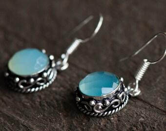Aqua Chalcedony Earrings, Sterling Silver Earrings, Dangle earrings, Aqua Mint Chalcedony Earring,Something blue,Gemstone Earrings, Sea Mist