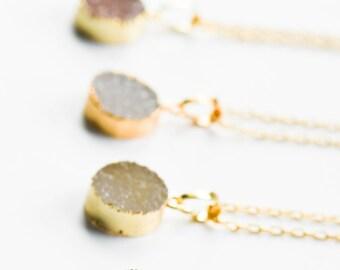Druzy Necklace, Druzy jewelry, Drusy Necklace,Gold Druzy Necklace,Druzy Pendant,Small Druzy Pendant Necklace,Round Druzy,Gold edged gemstone