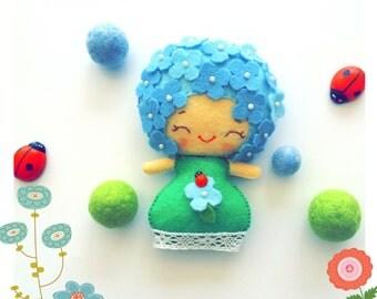 Felt plushie, hydrangea, flower, ladybug girl, spring, decoration, noialand