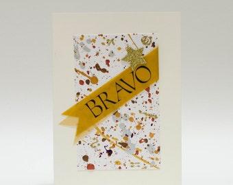 "Handmade Greeting Card - ""Bravo"" Banners on Hand Painted Mat"