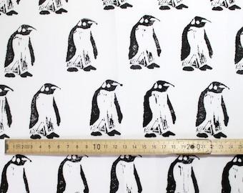Block-Printed Black and White Penguin Fabric Fat Quarter