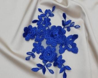 Royal Blue applique, French Chantilly lace applique, 3D bridal lace applique
