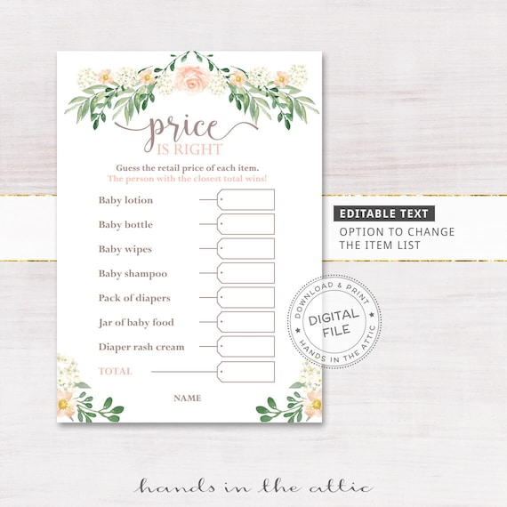 price is right bridal shower game template - price guessing baby shower games price is right floral