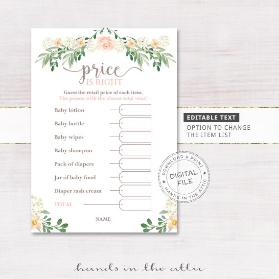 Price guessing baby shower games price is right floral for Price is right bridal shower game template