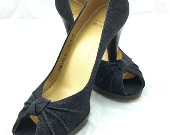 STUART WEITZMAN Vintage Canvas Pumps - Black Canvas High Heels - Peep Toe Shoes - Black Shoes - Platform Shoes - Size 8.5