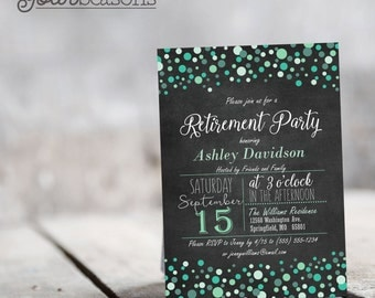 Mint Green Chalkboard Retirement Party Invitation - Personalized Printable DIGITAL FILE