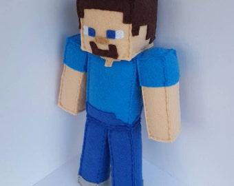 Minecraft Steve Stuffed Plush MTO, Minecraft Party, minecraft plush, steve plush, minecraft doll, steve doll, minecraft birthday, handmade