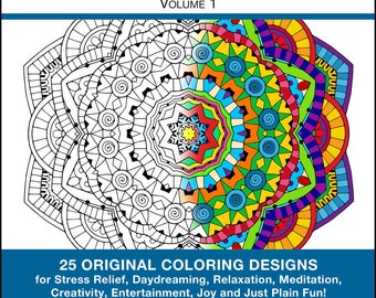 Mandala Coloring Book Pdf Instant Download Volume 1 25 Original