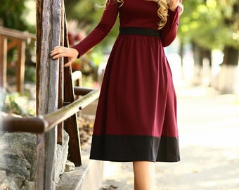 Marsala dress- Red Midi dress-Long sleeves jersey dress