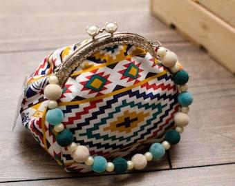 Ethnic cotton purse Kiss lock bag Evening purse Indian purse Velvet Beads Handbag