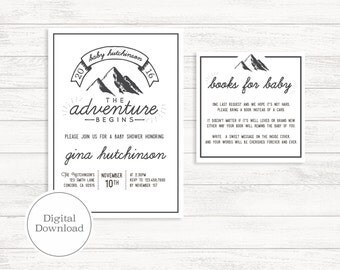 The Adventure Begins Minimal Outdoorsy Baby Shower Invitation | Digital Download, Printable File, Fully Customizable | Maddox133