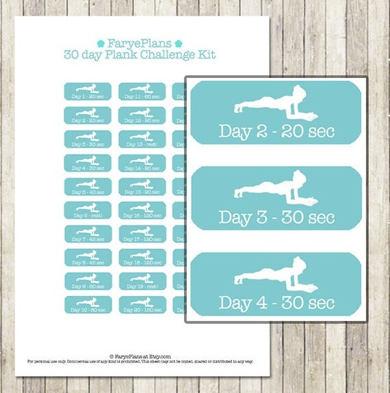 30 Day PlankCchallenge Printable Planner Stickers