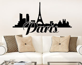 Eiffel Tower Wall Decal Paris Wall Decals Vinyl Stickers Paris Skyline Silhouette France Living Room Art Bedroom Decor NS668