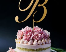 Gold Monogram Cake Toppers, Gold Cake Topper, Personalized Monogram Cake Topper A142