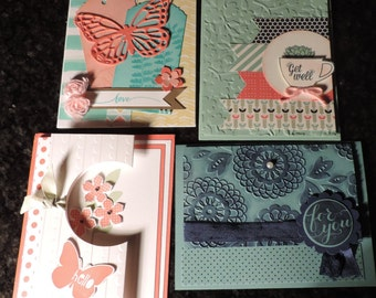 Handmade Cards (2 Get Well, 2 Thinking of you) (Pack of 4)
